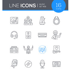 music - modern line design style icons set vector image