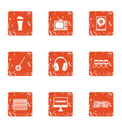 Music to examine icons set grunge style vector