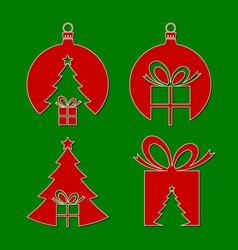 negative space christmas icons vector image