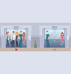New elevator use rules virus flu prevention vector