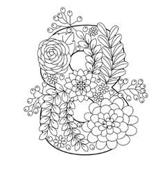 Number 8 coloring book for adults vector