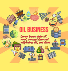 Oil business concept banner cartoon style vector