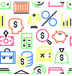 pattern of multi colored linear financial icons vector image