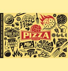 Pizza symbols logos signs icons emblems vector