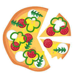 pizza with pepperoni veggies and a lot of vector image