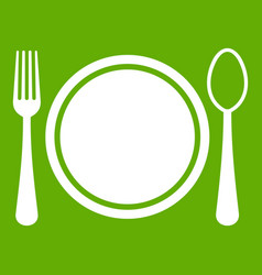 Place setting with platespoon and fork icon green vector
