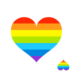 Rainbow heart with lgbt color stripes symbol of vector
