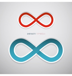 Red and Blue Paper Infinity Symbols vector image