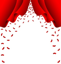 Red ribbon fall from red curtain on white vector image