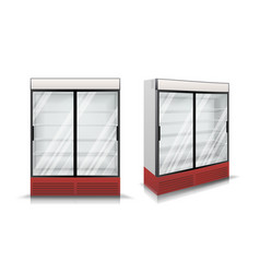 refrigerator fridge with two glass sliding vector image