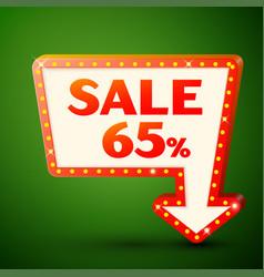 Retro billboard with sale 65 percent discounts vector