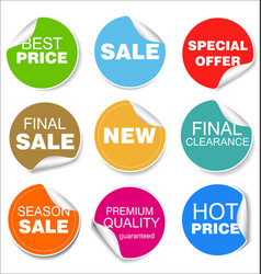 sale colorful badges and stickers design 04 vector image