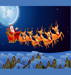 santa claus riding his reindeer sleigh flying in t vector image