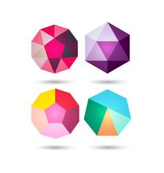 set of polygonal geometric figuresfor web design vector image