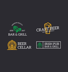set of retro vintage beer and alcohol hop barrel vector image