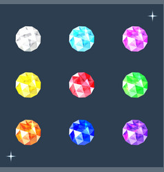 set of round gems stones of different colors vector image