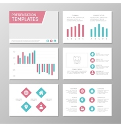 Set of turquoise and pink template for vector