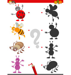 Shadow game with cute insects characters vector