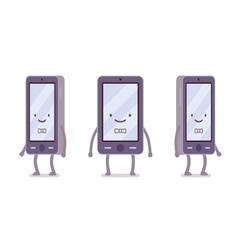 Smiling boy smartphone vector