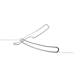 straight razor one continuous line graphic vector image