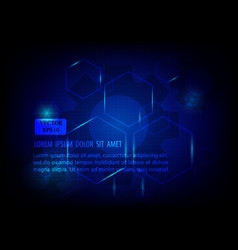 technology template geometric blue hexagon vector image