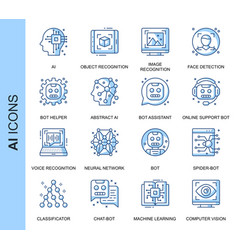 thin line artificial intelligence icons set vector image