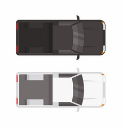 top view two pickup truck vector image