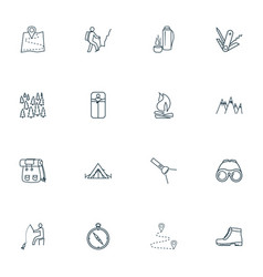 tourism icons line style set with swiss knife vector image