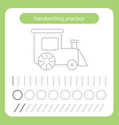 Train kids toys theme handwriting practice sheet vector