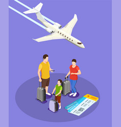 Traveling people isometric composition vector