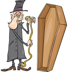 undertaker with coffin cartoon vector image