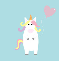 Unicorn holding heart baloon kawaii face pastel vector