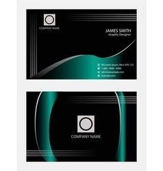 Wave blue black business cards template vector