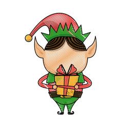 christmas elf helper with gift box cartoon vector image
