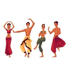 Male and female Indian dancers in traditional vector image
