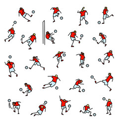 soccer players with ball icons set collection of vector image