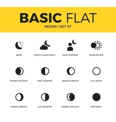 Basic set of moon icons vector image