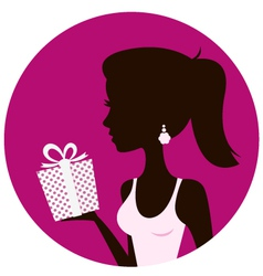 Beautiful woman with gift box isolated on pink vector image