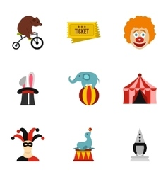 Circus icons set flat style vector image vector image