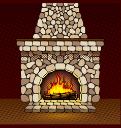 fireplace at home pop art vector image vector image