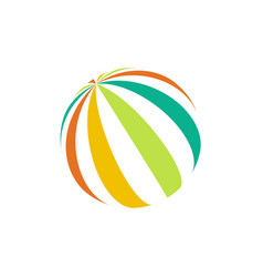 isolated colorful beach ball logo unusual vector image vector image