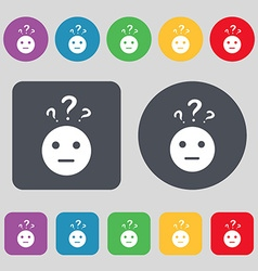 question mark and man incomprehension icon sign A vector image