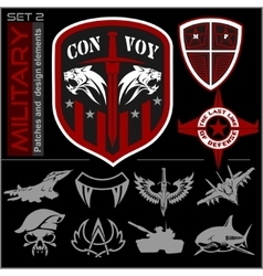 Set of military patches logos badges and design vector image vector image