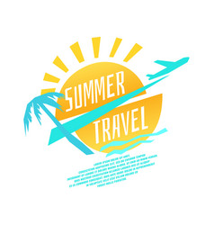 summer travel with plane vector image vector image