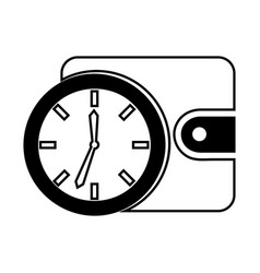 time clock with wallet isolated icon vector image vector image
