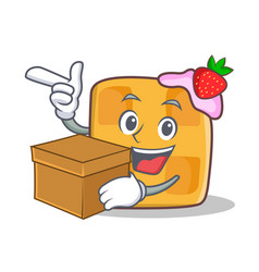 waffle character cartoon design with box vector image