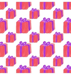 Watercolor seamless pattern with gift box on the vector image vector image