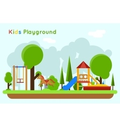 Kids playground flat concept background vector