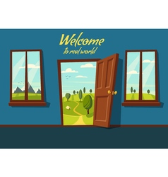 Open door Valley landscape Cartoon vector image vector image