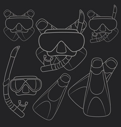 Set of with flippers mask snorkel vector image